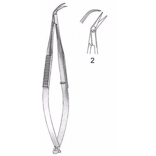 Katzin Corneal Transplant Scissors 10.8 cm , Miniature 8mm Blades, Curved, Blunt Tips, Right | JFU Industries
