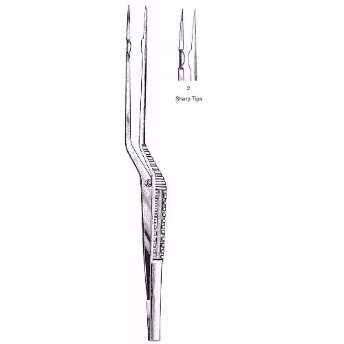 Yasargil Forceps 22.0 cm , Bayonet Handle, Sharp Tips | JFU Industries