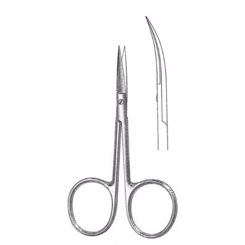 Iris Scissors 10.2 cm , 24mm Blades, Large Finger Rings, Curved | JFU Industries