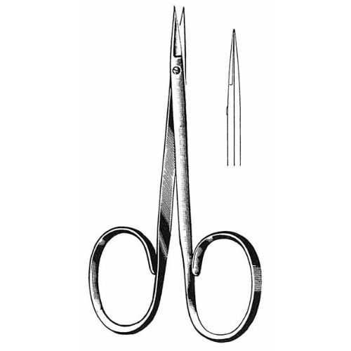 Iris Scissors 8.9 cm , 12mm Blades, Delicate, Flat Shanks, Straight | JFU Industries