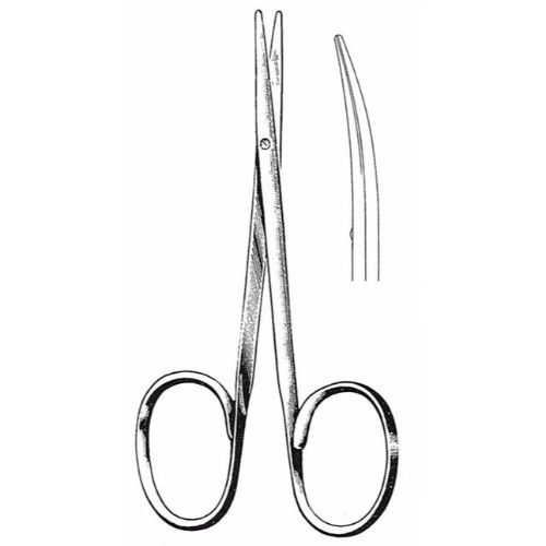Strabismus Scissors 10.5 cm , 25mm Blades, Flat Shanks, Curved | JFU Industries