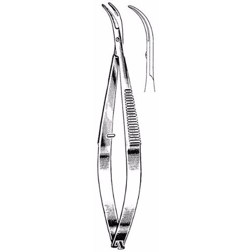 Castroviejo Corneal Scissors 10.8 cm , 12mm Blades, Curved, Blunt Tips | JFU Industries
