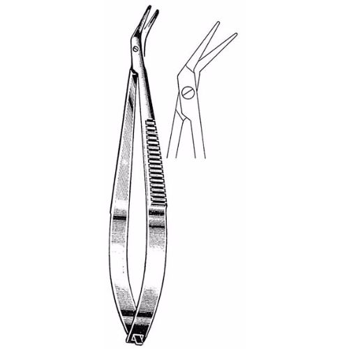 Castroviejo Corneal Scissors 10.8 cm , 12mm Blades, Angled, Blunt Tips | JFU Industries