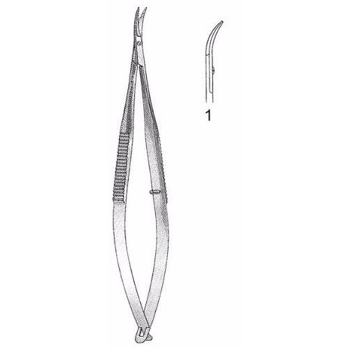 Castroviejo Corneal Section Scissors 10.5 cm , Miniature 7mm Blades, Curved, Blunt Tips, Left | JFU Industries
