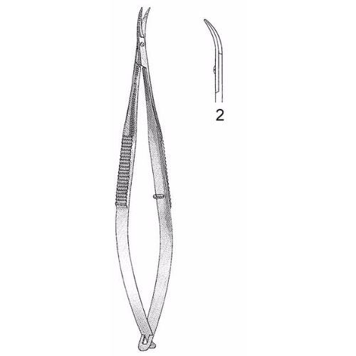 Castroviejo Corneal Section Scissors 10.5 cm , Miniature 7mm Blades, Curved, Blunt Tips, Right | JFU Industries