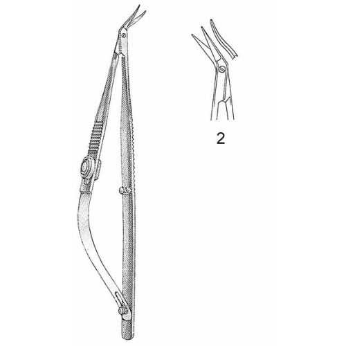 Troutman-Castroviejo Corneal Section Scissors 10.5 cm , Miniature 7mm Blades, Curved, Blunt Tips, Right | JFU Industries