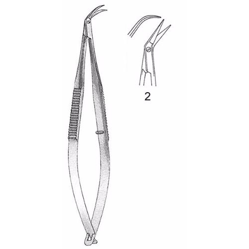 Katzin Corneal Transplant Scissors 10.8 cm , Miniature 8mm Blades, Curved, Blunt Tips, Right | JFU Industries