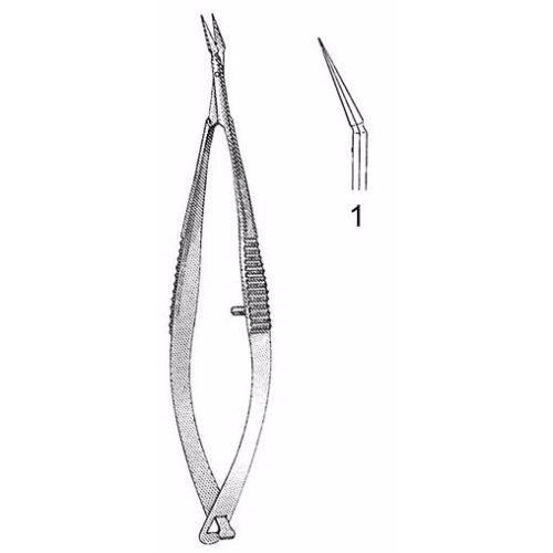 Gills-Welsh Vannas Scissors 7.9 cm , Microsurgery 5mm Blades, Angled, Sharp Tips | JFU Industries